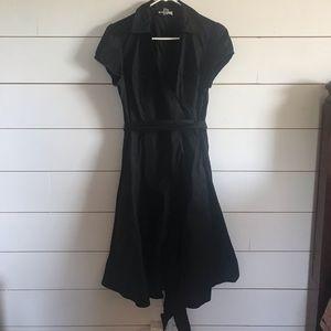 LOFT 12 Petite Black Short Sleeve Wrap Dress